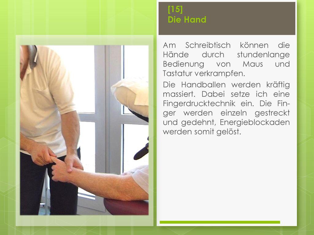 [15] Die Hand Am Schreibtisch können die Hände durch stundenlange Bedienung von Maus und Tastatur verkrampfen.